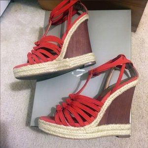 Strapped Elastic Wedge Sandals